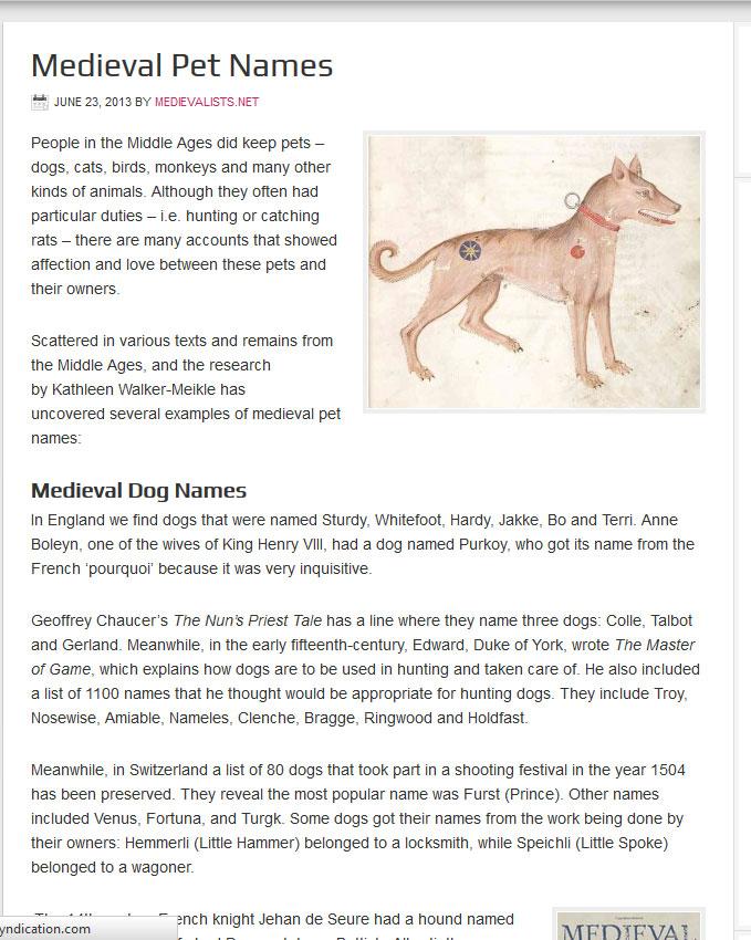 medieval-pet-names